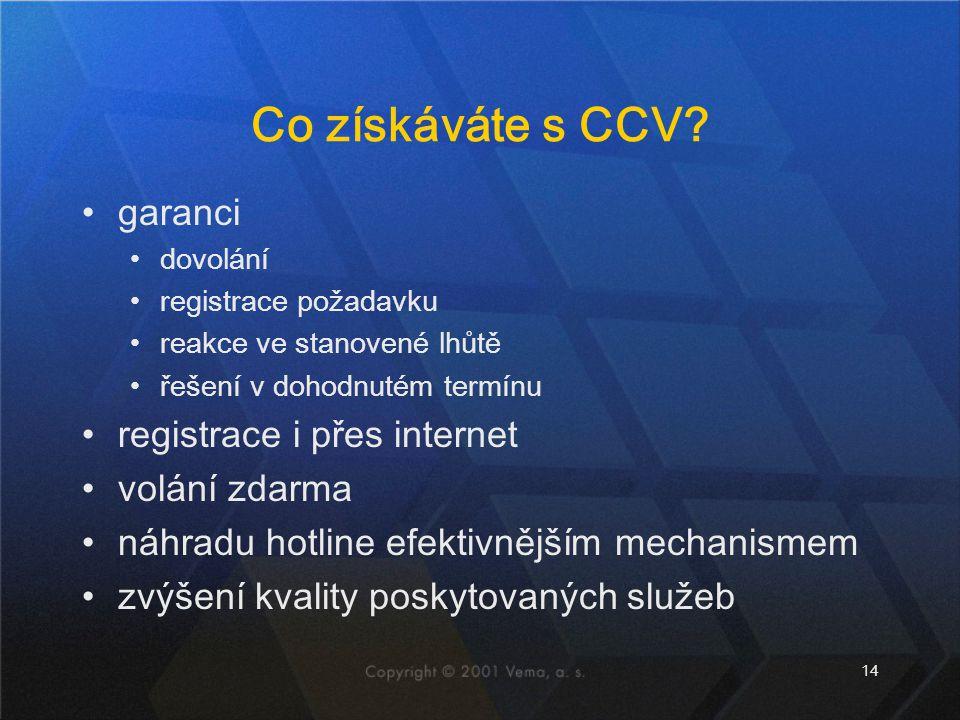 14 Co získáváte s CCV? garanci dovolání registrace požadavku reakce ve stanovené lhůtě řešení v dohodnutém termínu registrace i přes internet volání z