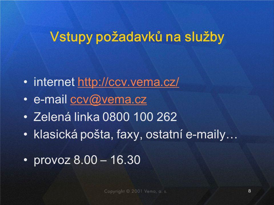 8 Vstupy požadavků na služby internet http://ccv.vema.cz/http://ccv.vema.cz/ e-mail ccv@vema.czccv@vema.cz Zelená linka 0800 100 262 klasická pošta, faxy, ostatní e-maily… provoz 8.00 – 16.30