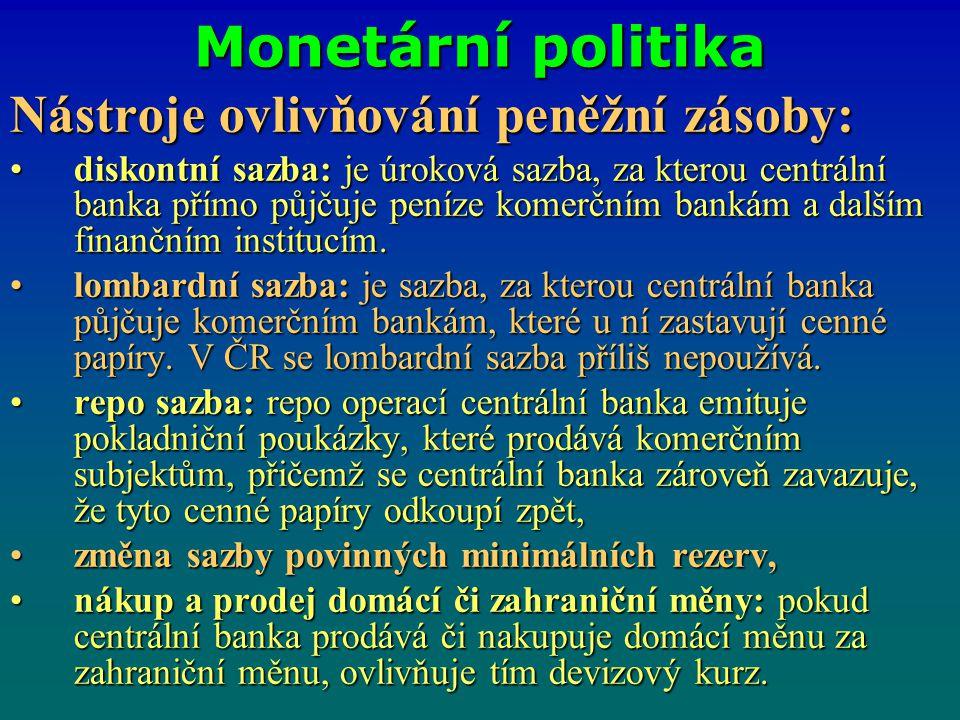 Monetární politika Nástroje ovlivňování peněžní zásoby: diskontní sazba: je úroková sazba, za kterou centrální banka přímo půjčuje peníze komerčním ba