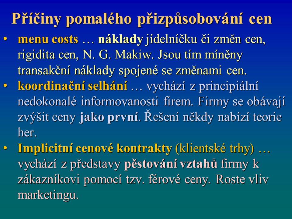menu costs … náklady jídelníčku či změn cen, rigidita cen, N. G. Makiw. Jsou tím míněny transakční náklady spojené se změnami cen. menu costs … náklad