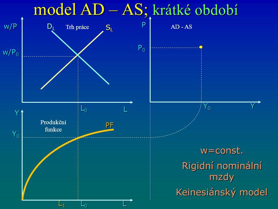model AD – AS; krátké období w/P L DLDLDLDL L0L0L0L0 Y L0L0L0L0 L1L1L1L1 L Y0Y0Y0Y0 w/P 0 SLSLSLSL PF P0P0P0P0 Y0Y0Y0Y0 P Y w=const. Rigidní nominální