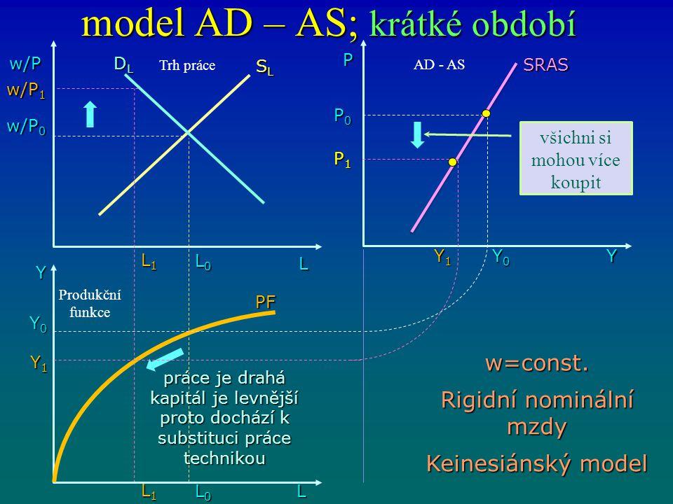 model AD – AS; krátké období w/P L DLDLDLDL L0L0L0L0 Y L1L1L1L1 L0L0L0L0 L1L1L1L1 L Y1Y1Y1Y1 Y0Y0Y0Y0 w/P 0 w/P 1 SLSLSLSL PF SRAS P0P0P0P0 P1P1P1P1 Y