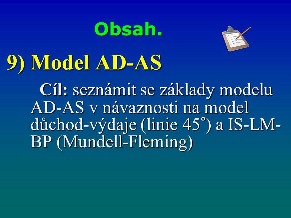Obsah. 9) Model AD-AS Cíl: seznámit se základy modelu AD-AS v návaznosti na model důchod-výdaje (linie 45°) a IS-LM- BP (Mundell-Fleming) Cíl: seznámi