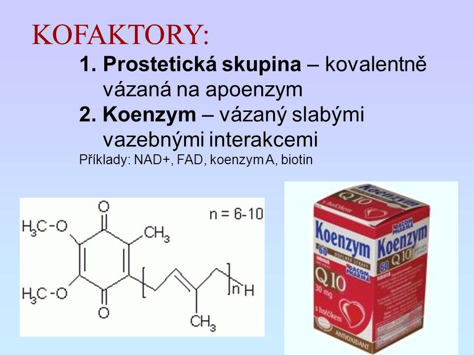 KOFAKTORY: 1.Prostetická skupina – kovalentně vázaná na apoenzym 2. Koenzym – vázaný slabými vazebnými interakcemi Příklady: NAD+, FAD, koenzym A, bio