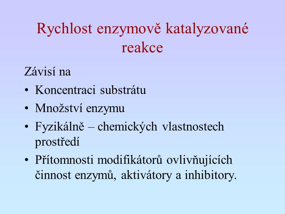 Rychlost enzymově katalyzované reakce Závisí na Koncentraci substrátu Množství enzymu Fyzikálně – chemických vlastnostech prostředí Přítomnosti modifi