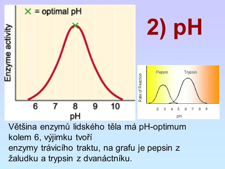 2) pH Většina enzymů lidského těla má pH-optimum kolem 6, výjimku tvoří enzymy trávicího traktu, na grafu je pepsin z žaludku a trypsin z dvanáctníku.