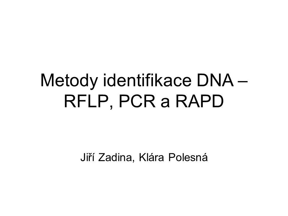 Zhodnocení metody RAPD + použitelnost pro jakýkoliv (neznámý) genom technologicky jednoduchá a rychlá metoda výsledky lze dobře kvantifikovat (sestavení matice a statistické zpracování) – nízká specifita reakce, nereprodukovatelnost výsledků mezi laboratořemi (lze srovnávat jen interpretace) lze hodnotit maximálně dva blízce příbuzné druhy (použití především v populační biologii)
