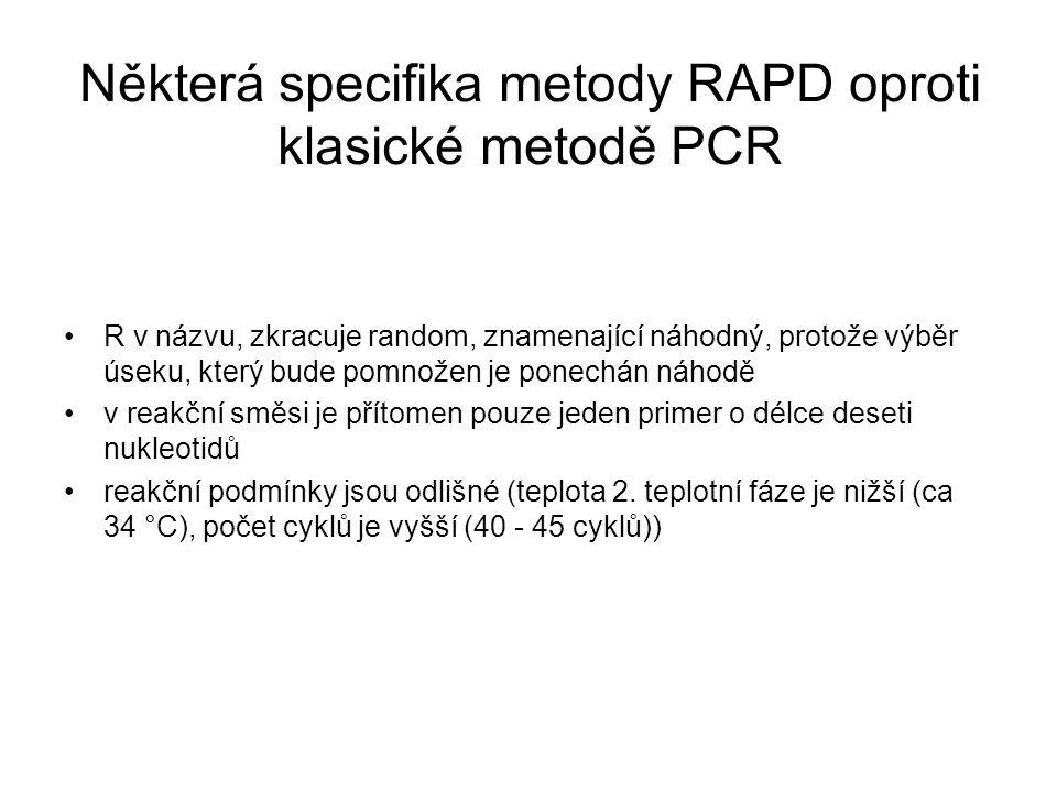 Některá specifika metody RAPD oproti klasické metodě PCR R v názvu, zkracuje random, znamenající náhodný, protože výběr úseku, který bude pomnožen je