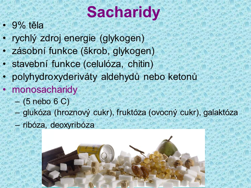 Sacharidy 9% těla rychlý zdroj energie (glykogen) zásobní funkce (škrob, glykogen) stavební funkce (celulóza, chitin) polyhydroxyderiváty aldehydů neb