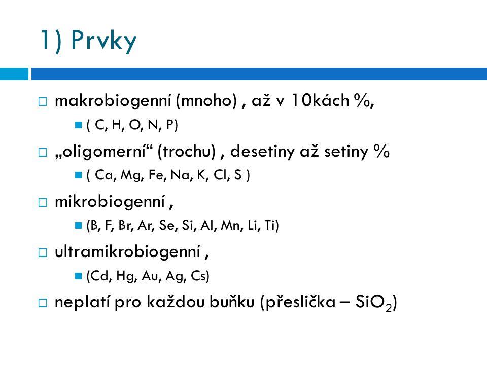 """1) Prvky  makrobiogenní (mnoho), až v 10kách %, ( C, H, O, N, P)  """"oligomerní"""" (trochu), desetiny až setiny % ( Ca, Mg, Fe, Na, K, Cl, S )  mikrobi"""