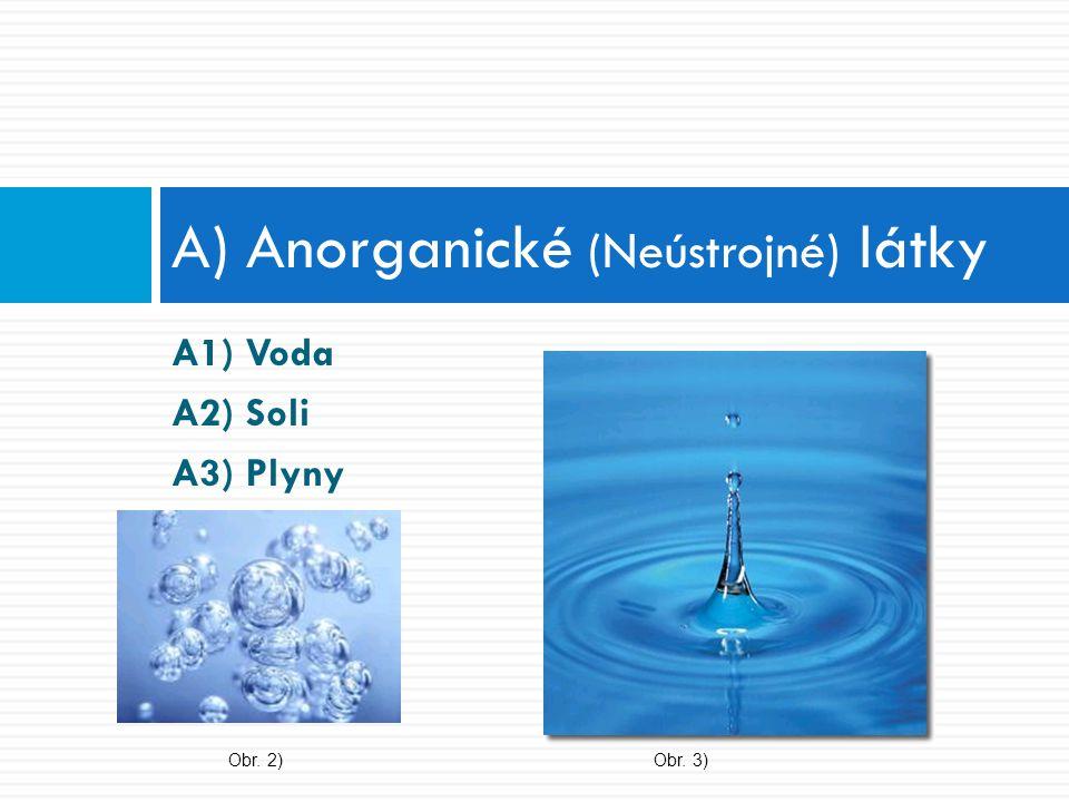 A1) Voda 1) obecné rozpouštědlo (polární) 2) ionizační činidlo (soli a org.
