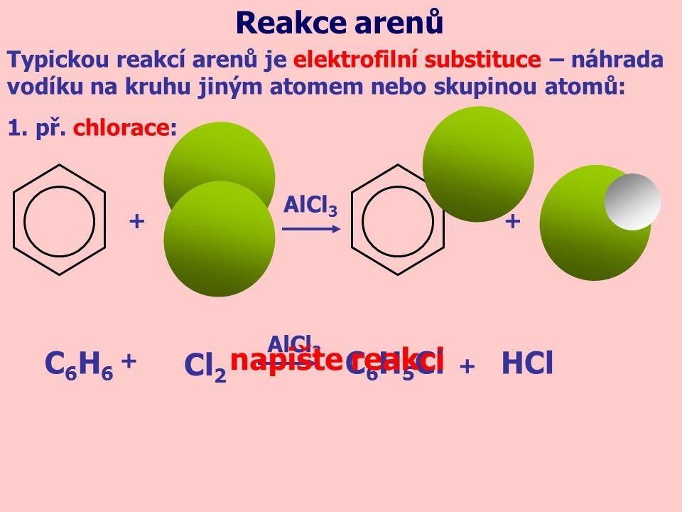 + C6H6C6H6 C 6 H 5 ClHCl Cl 2 + + AlCl 3 + Typickou reakcí arenů je elektrofilní substituce – náhrada vodíku na kruhu jiným atomem nebo skupinou atomů