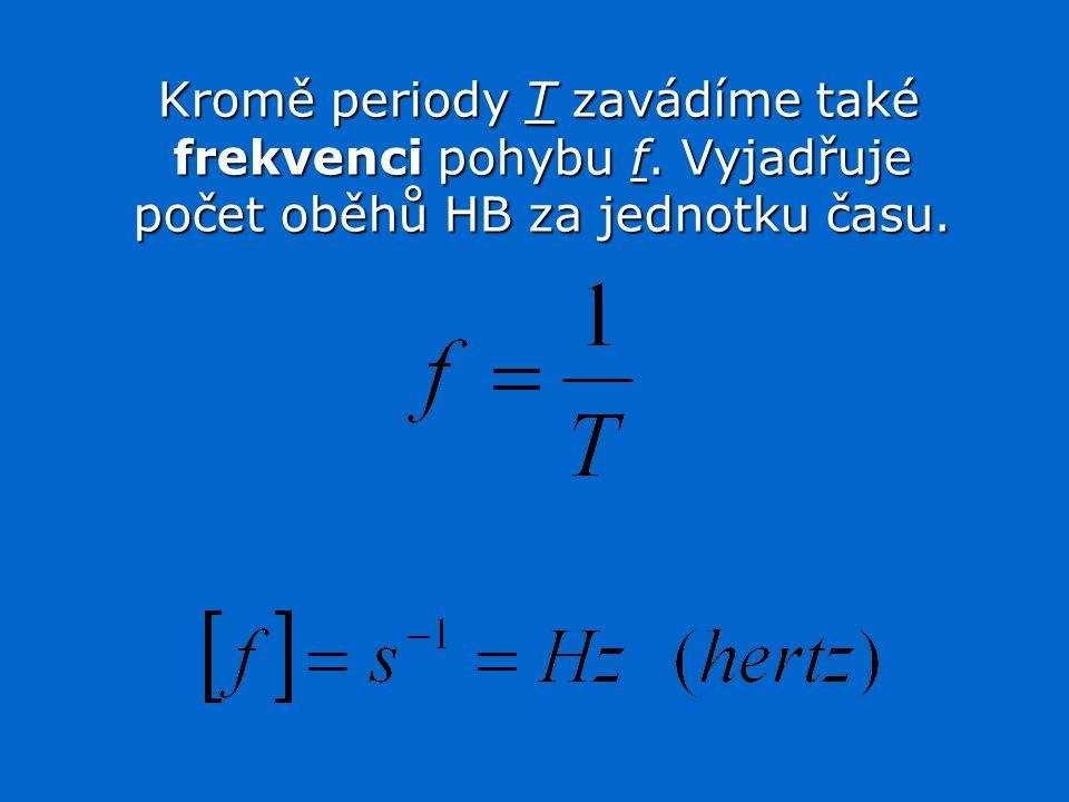 Kromě periody T zavádíme také frekvenci pohybu f.Vyjadřuje počet oběhů HB za jednotku času.