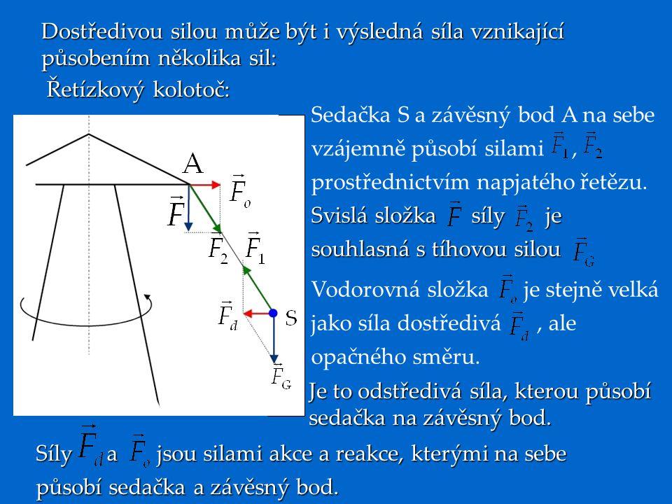 Dostředivou silou může být i výsledná síla vznikající působením několika sil: Řetízkový kolotoč: Sedačka S a závěsný bod A na sebe vzájemně působí silami, prostřednictvím napjatého řetězu.