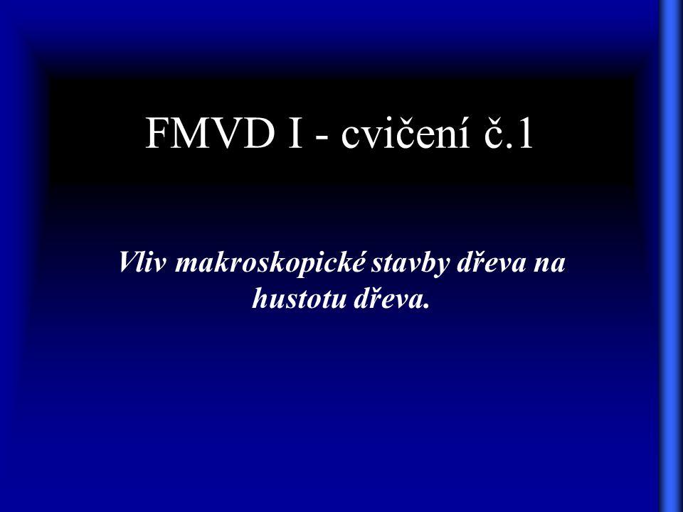 FMVD I - cvičení č.1 Vliv makroskopické stavby dřeva na hustotu dřeva.