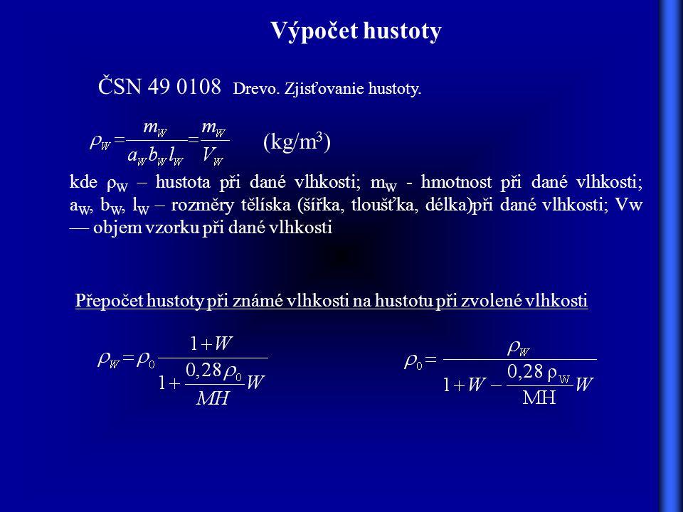 Výpočet hustoty (kg/m 3 ) kde ρ W – hustota při dané vlhkosti; m W - hmotnost při dané vlhkosti; a W, b W, l W – rozměry tělíska (šířka, tloušťka, délka)při dané vlhkosti; Vw — objem vzorku při dané vlhkosti Přepočet hustoty při známé vlhkosti na hustotu při zvolené vlhkosti ČSN 49 0108 Drevo.