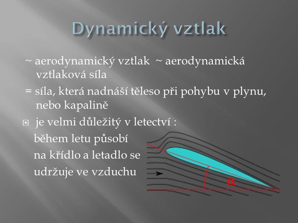 ~ aerodynamický vztlak ~ aerodynamická vztlaková síla = síla, která nadnáší těleso při pohybu v plynu, nebo kapalině  je velmi důležitý v letectví :