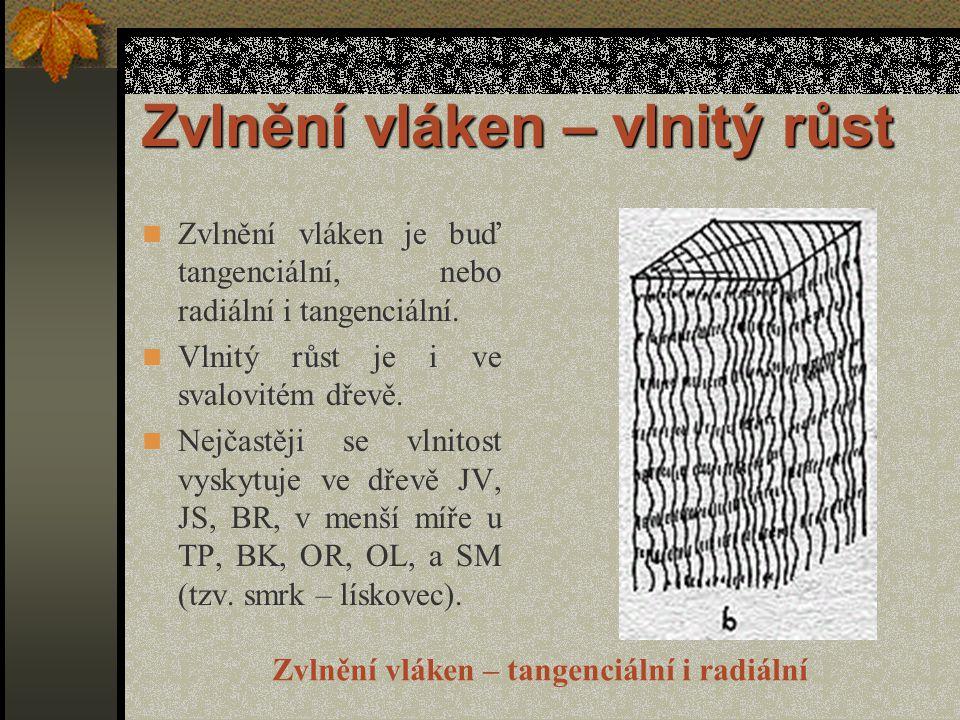 Zvlnění vláken – vlnitý růst Ve dřevě se vyskytuje zvlnění vláken : dlouhé a mělké – zapříčiňuje borcení řeziva při sušení, krátké a vysoké – dává dýhy s pěknou vlnitou texturou a vlnitým leskem, který vzniká přeřezáváním vln vláken na ploše, Zvlnění vláken - tangenciální