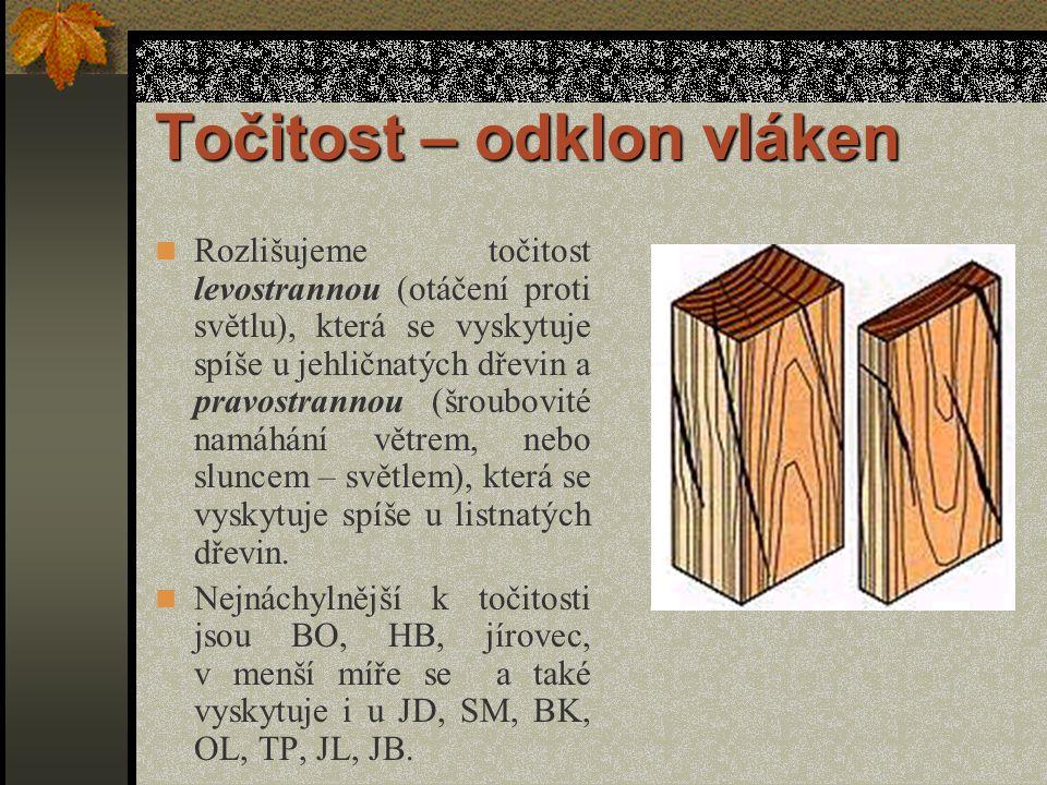 Točitost – odklon vláken Je to šroubovité odchýlení vláken od podélné osy kmene.