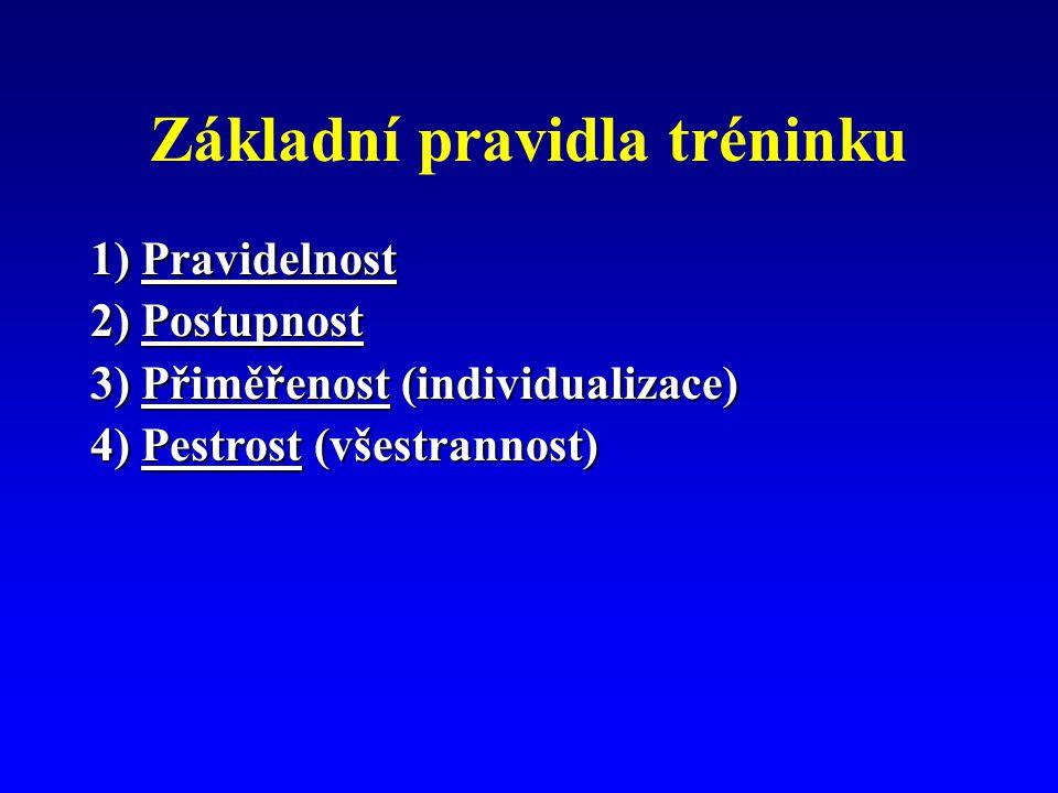 Základní pravidla tréninku 1) Pravidelnost 2) Postupnost 3) Přiměřenost (individualizace) 4) Pestrost (všestrannost)
