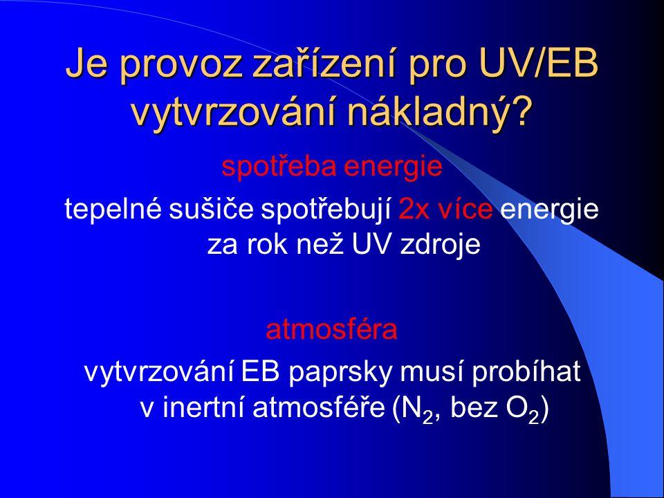 Jsou UV/EB materiály nebezpečné pro člověka? mají velmi vysoký bod vznícení uvolňují jen málo nebo žádné VOC většinou nejsou mutagenní nejsou karcinog