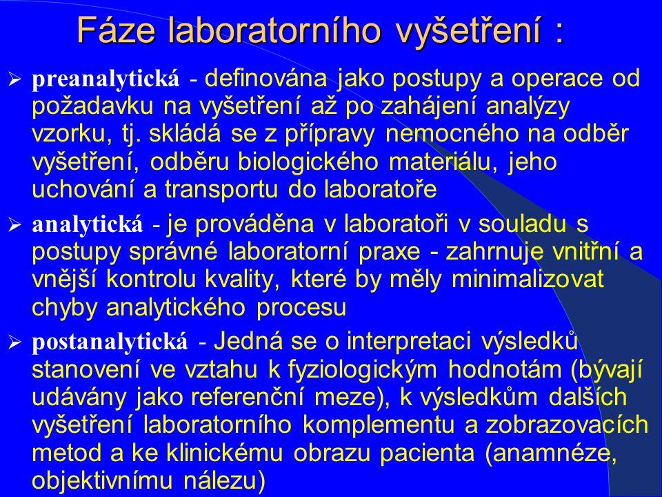 Fáze laboratorního vyšetření :  preanalytická - definována jako postupy a operace od požadavku na vyšetření až po zahájení analýzy vzorku, tj.
