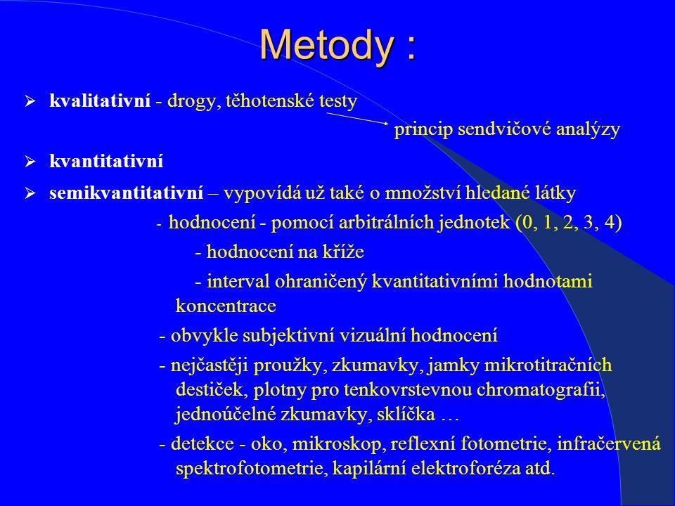  kvalitativní - drogy, těhotenské testy princip sendvičové analýzy  kvantitativní  semikvantitativní – vypovídá už také o množství hledané látky - hodnocení - pomocí arbitrálních jednotek (0, 1, 2, 3, 4) - hodnocení na kříže - interval ohraničený kvantitativními hodnotami koncentrace - obvykle subjektivní vizuální hodnocení - nejčastěji proužky, zkumavky, jamky mikrotitračních destiček, plotny pro tenkovrstevnou chromatografii, jednoúčelné zkumavky, sklíčka … - detekce - oko, mikroskop, reflexní fotometrie, infračervená spektrofotometrie, kapilární elektroforéza atd.