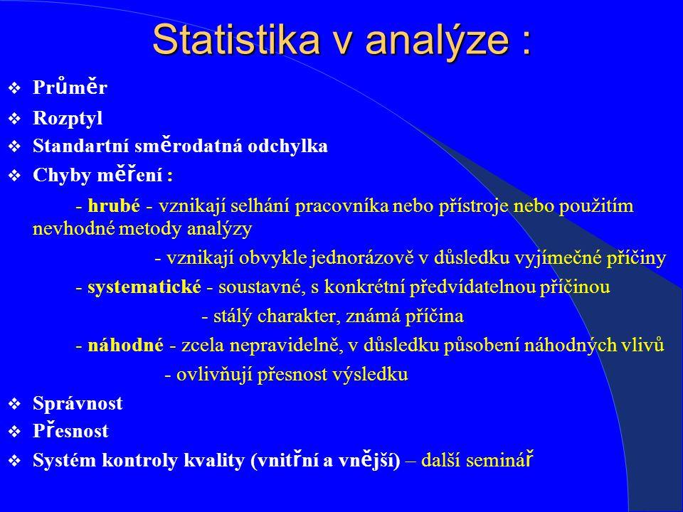Statistika v analýze :  Pr ů m ě r  Rozptyl  Standartní sm ě rodatná odchylka  Chyby m ěř ení : - hrubé - vznikají selhání pracovníka nebo přístroje nebo použitím nevhodné metody analýzy - vznikají obvykle jednorázově v důsledku vyjímečné příčiny - systematické - soustavné, s konkrétní předvídatelnou příčinou - stálý charakter, známá příčina - náhodné - zcela nepravidelně, v důsledku působení náhodných vlivů - ovlivňují přesnost výsledku  Správnost  P ř esnost  Systém kontroly kvality (vnit ř ní a vn ě jší) – další seminá ř