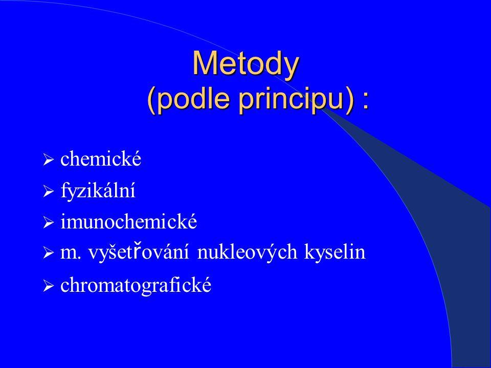 Metody (podle principu) :  chemické  fyzikální  imunochemické  m.