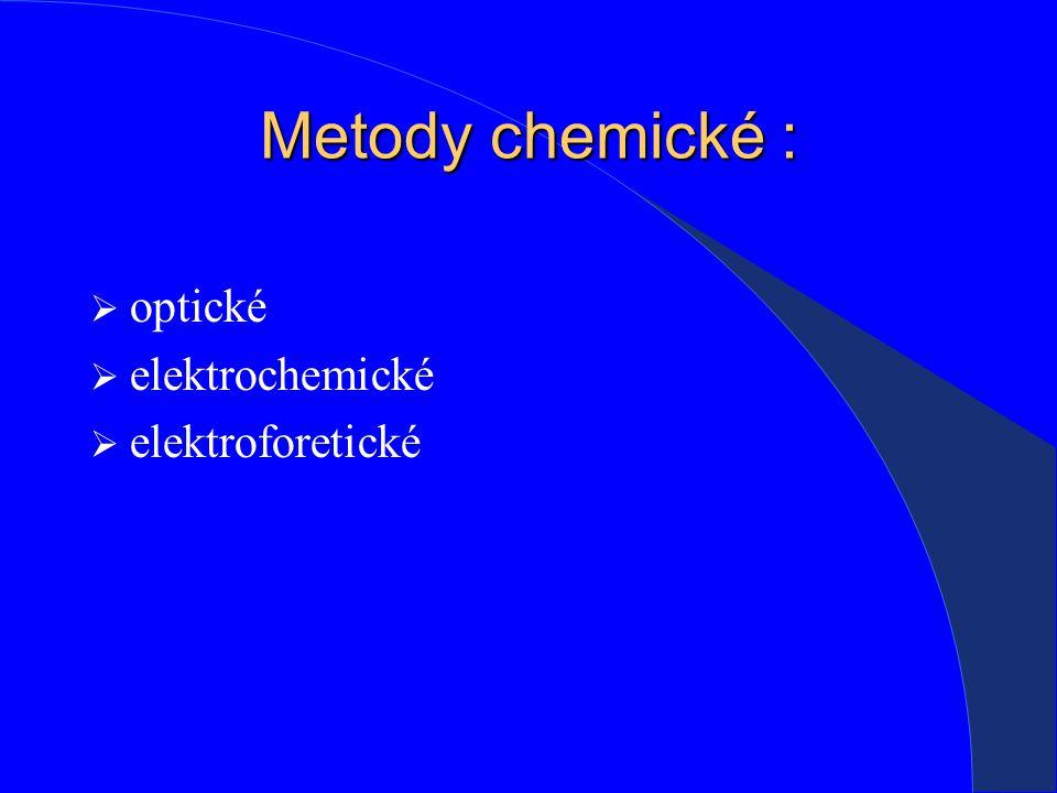 Metody chemické :  optické  elektrochemické  elektroforetické
