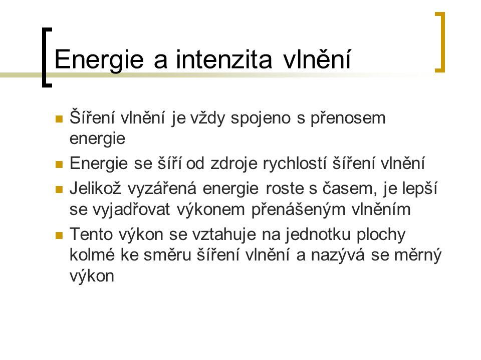Šíření vlnění je vždy spojeno s přenosem energie Energie se šíří od zdroje rychlostí šíření vlnění Jelikož vyzářená energie roste s časem, je lepší se