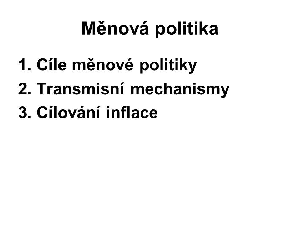 Měnová politika 1. Cíle měnové politiky 2. Transmisní mechanismy 3. Cílování inflace