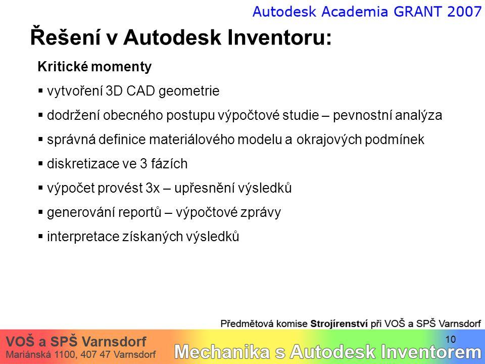 10 Řešení v Autodesk Inventoru: Kritické momenty  vytvoření 3D CAD geometrie  dodržení obecného postupu výpočtové studie – pevnostní analýza  správ