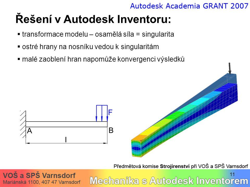 11 Řešení v Autodesk Inventoru:  transformace modelu – osamělá síla = singularita  ostré hrany na nosníku vedou k singularitám  malé zaoblení hran