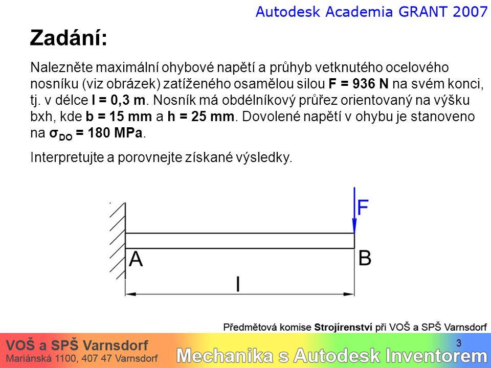 3 Zadání: Nalezněte maximální ohybové napětí a průhyb vetknutého ocelového nosníku (viz obrázek) zatíženého osamělou silou F = 936 N na svém konci, tj