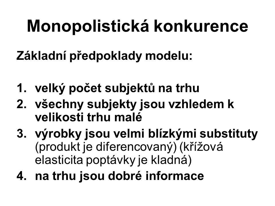 Monopolistická konkurence Základní předpoklady modelu: 1.velký počet subjektů na trhu 2.všechny subjekty jsou vzhledem k velikosti trhu malé 3.výrobky jsou velmi blízkými substituty (produkt je diferencovaný) (křížová elasticita poptávky je kladná) 4.na trhu jsou dobré informace
