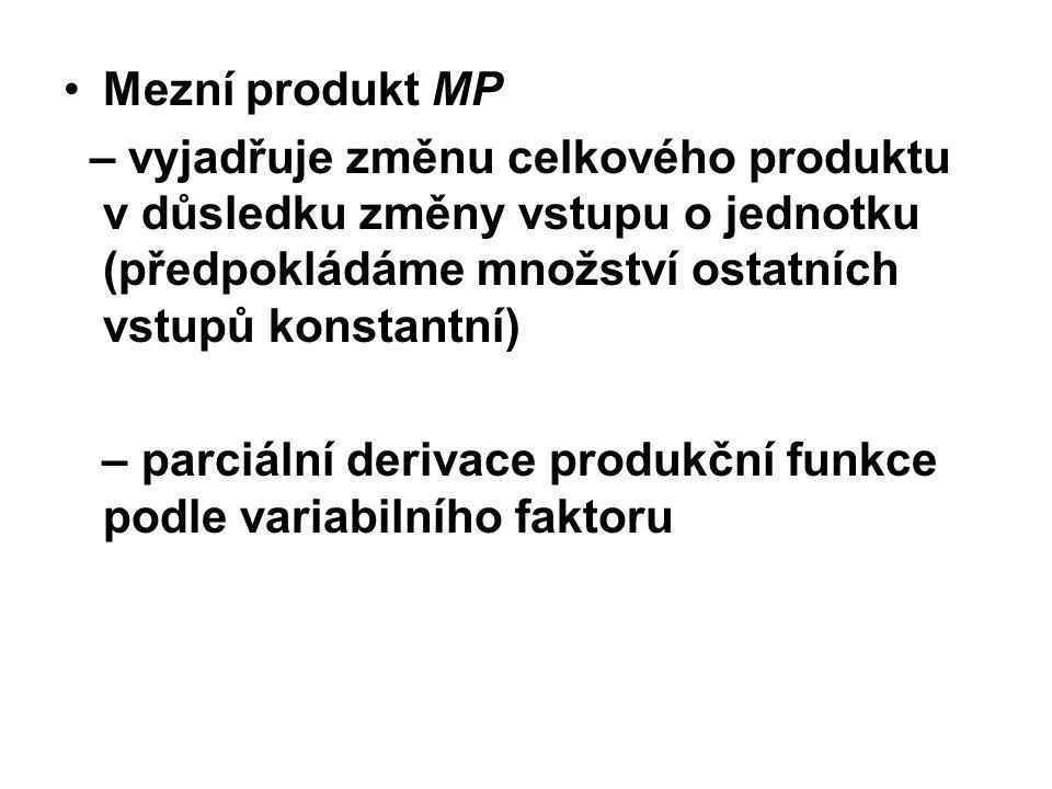Mezní produkt MP – vyjadřuje změnu celkového produktu v důsledku změny vstupu o jednotku (předpokládáme množství ostatních vstupů konstantní) – parciální derivace produkční funkce podle variabilního faktoru