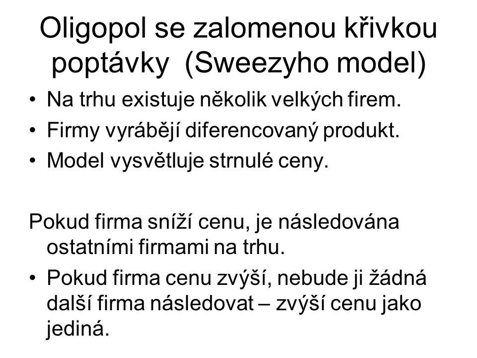 Oligopol se zalomenou křivkou poptávky (Sweezyho model) Na trhu existuje několik velkých firem.