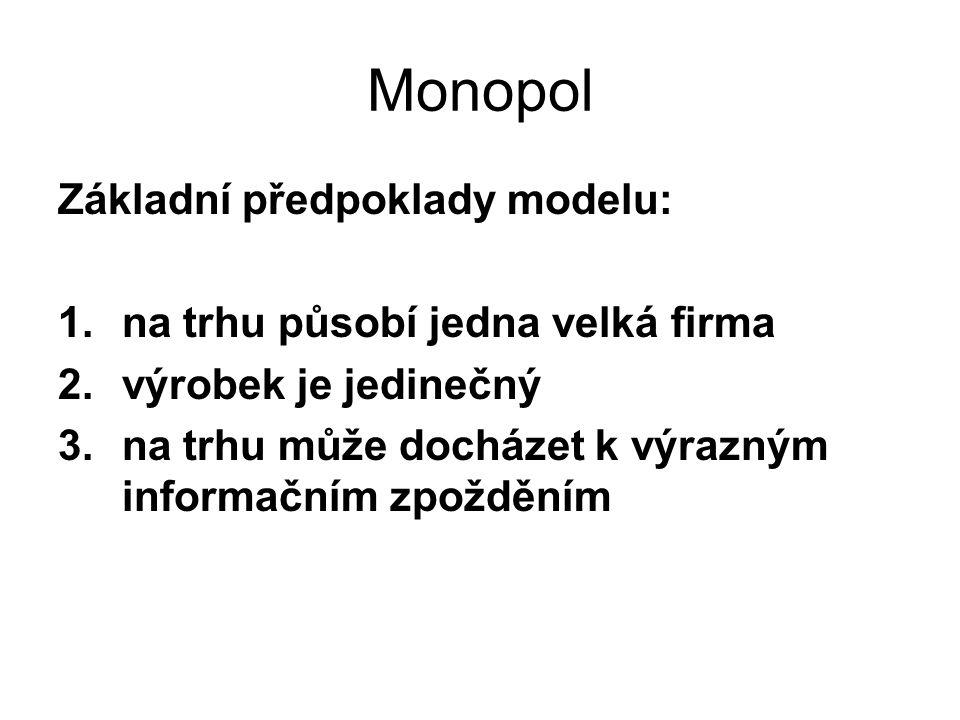 Monopol Základní předpoklady modelu: 1.na trhu působí jedna velká firma 2.výrobek je jedinečný 3.na trhu může docházet k výrazným informačním zpožděním