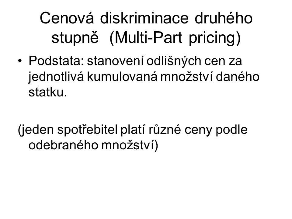 Cenová diskriminace druhého stupně (Multi-Part pricing) Podstata: stanovení odlišných cen za jednotlivá kumulovaná množství daného statku.