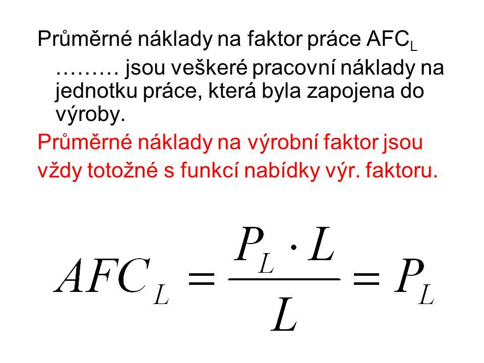 Průměrné náklady na faktor práce AFC L ……… jsou veškeré pracovní náklady na jednotku práce, která byla zapojena do výroby.