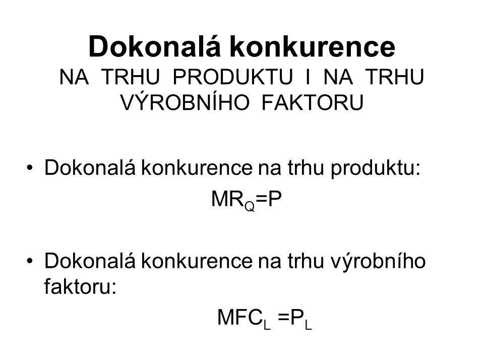 Dokonalá konkurence NA TRHU PRODUKTU I NA TRHU VÝROBNÍHO FAKTORU Dokonalá konkurence na trhu produktu: MR Q =P Dokonalá konkurence na trhu výrobního faktoru: MFC L =P L