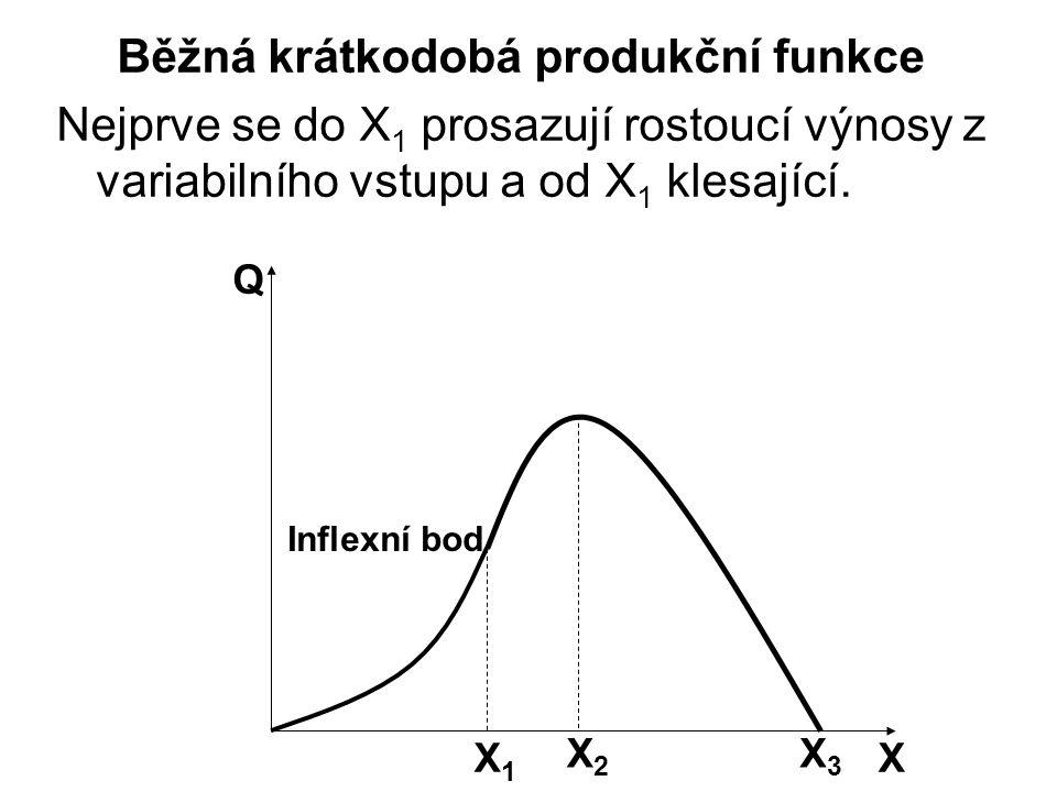 X Q Inflexní bod X1X1 X2X2 X3X3 Běžná krátkodobá produkční funkce Nejprve se do X 1 prosazují rostoucí výnosy z variabilního vstupu a od X 1 klesající.