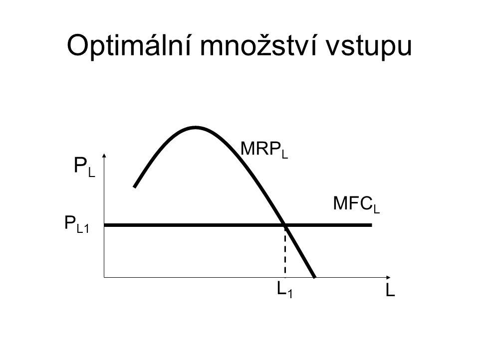 Optimální množství vstupu L PLPL P L1 MFC L MRP L L1L1