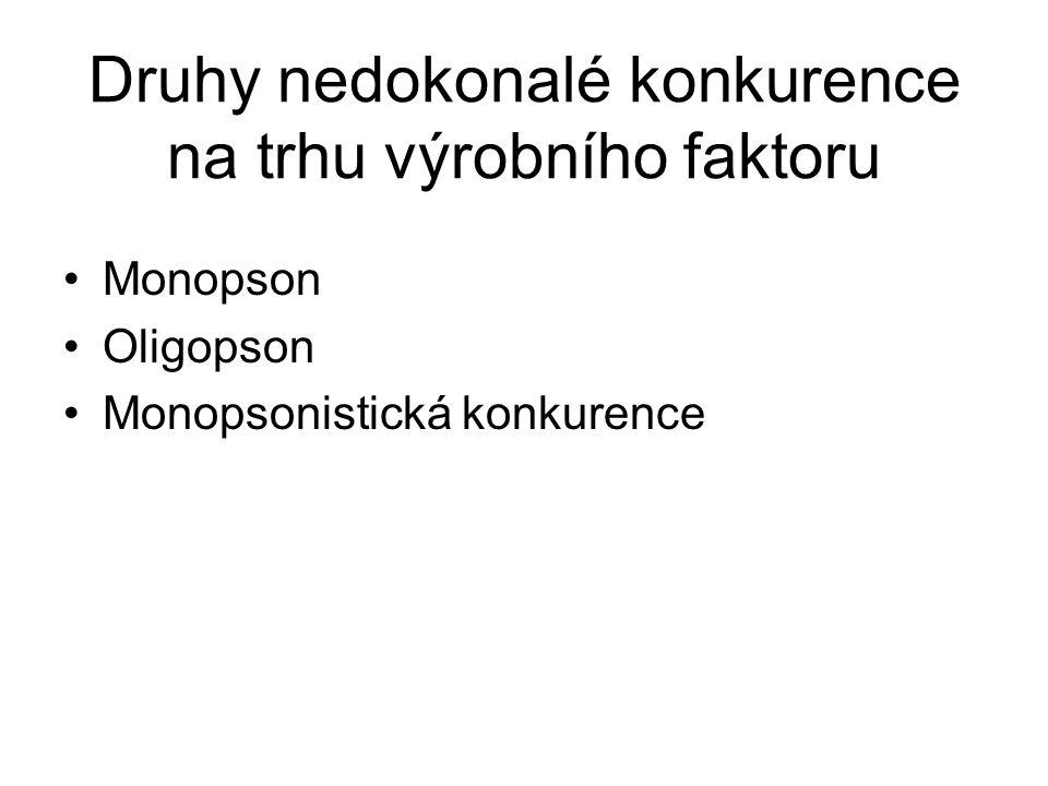 Druhy nedokonalé konkurence na trhu výrobního faktoru Monopson Oligopson Monopsonistická konkurence