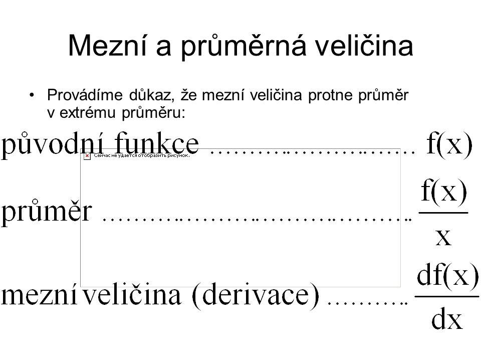 Mezní a průměrná veličina Provádíme důkaz, že mezní veličina protne průměr v extrému průměru: