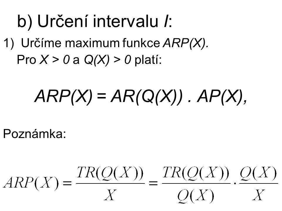 b) Určení intervalu I: 1) Určíme maximum funkce ARP(X).