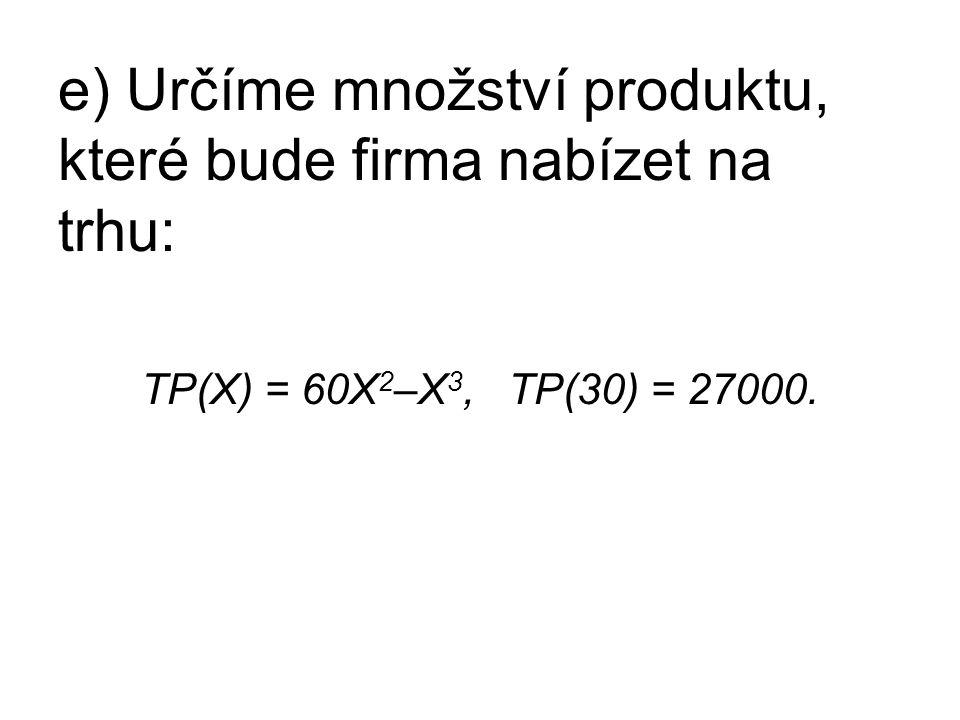 e) Určíme množství produktu, které bude firma nabízet na trhu: TP(X) = 60X 2 –X 3, TP(30) = 27000.