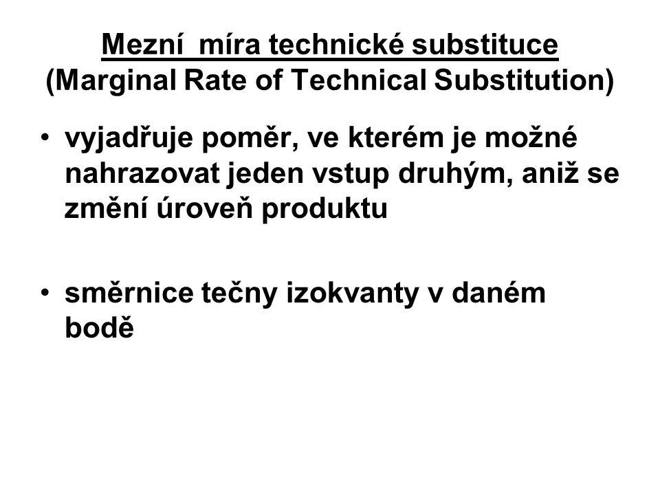 Mezní míra technické substituce (Marginal Rate of Technical Substitution) vyjadřuje poměr, ve kterém je možné nahrazovat jeden vstup druhým, aniž se změní úroveň produktu směrnice tečny izokvanty v daném bodě