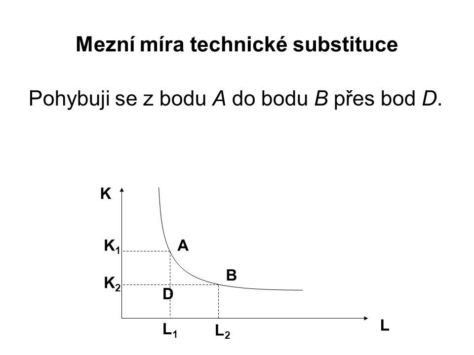 Mezní míra technické substituce Pohybuji se z bodu A do bodu B přes bod D.